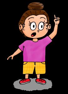 dessin fille qui lève le doigt