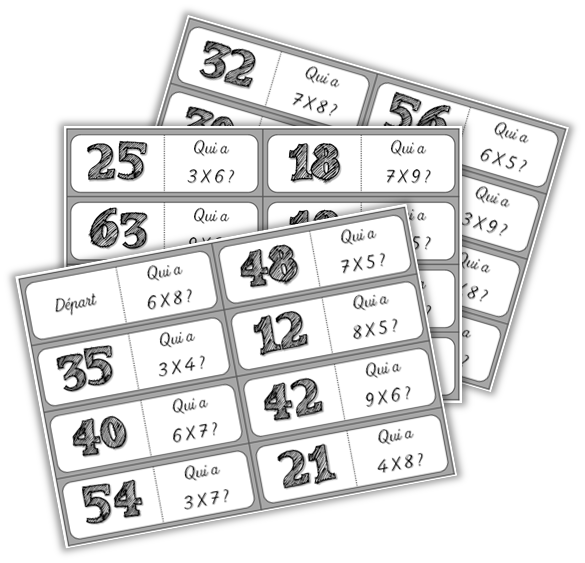 Tables de multiplication et dominos des multiplications - Jeu sur les tables de multiplication ...