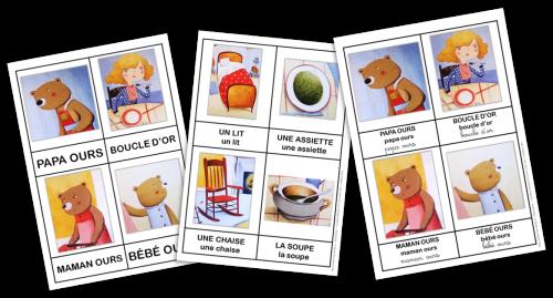 cartes vocabulaire boucle d'or et les trois ours