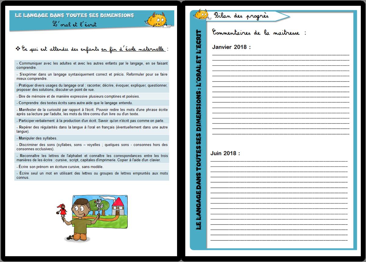 Cycle 1 Carnet De Suivi De La Maternelle Le Blog De Mysticlolly