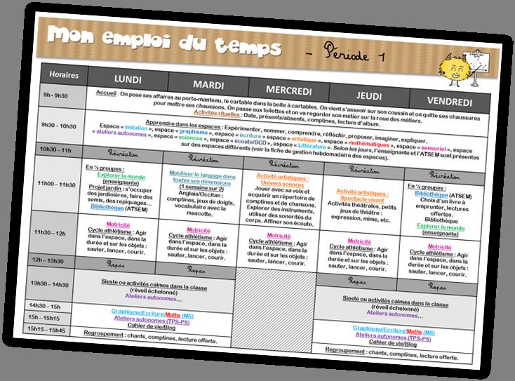 Cycle 1 programmations emploi du temps gestion des for Emploi espace