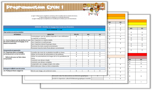 Cycle 1 - Programmations de cycle