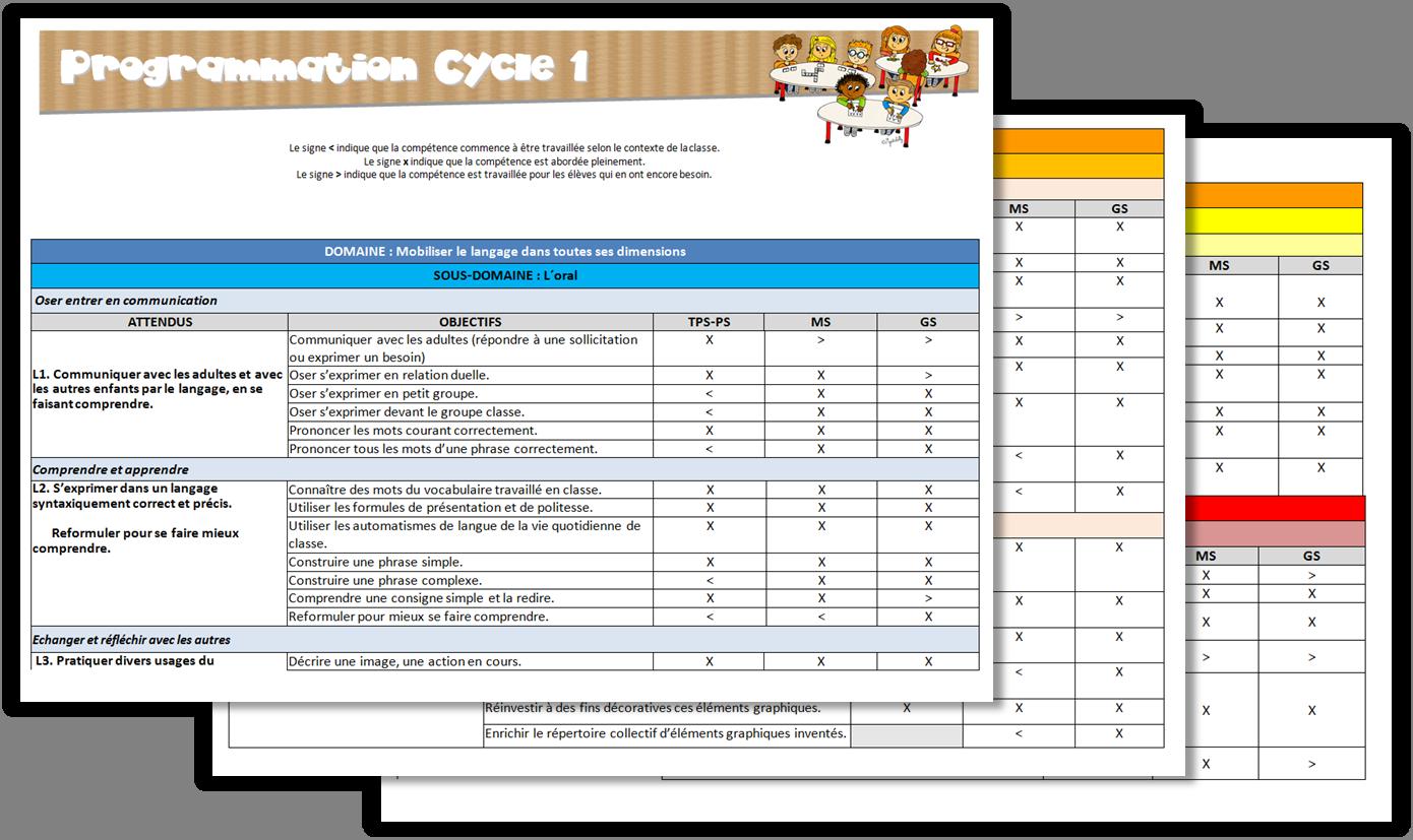 Cycle 1 Programmations Emploi Du Temps Gestion Des