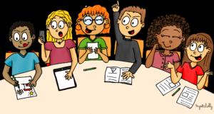 Dessin école - réunion conseil de maitres conseil de cycles conseil d'école